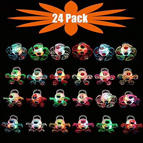 Mikulala Novelty 24 Pack Light Up Rings Fidget Toys For Kids