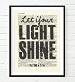 Let your Light Shine -Matthew 5:16 Christian ART PRINT, UNFRAMED, Vintage Bible page verse scripture dictionary wall & home decor poster,Inspirational poster gift, 8x10 inches