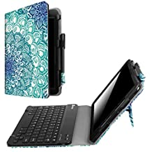 Fintie Samsung Galaxy Tab S3 9.7 Keyboard Case, Premium PU Leather Stand Cover with S Pen Protective Holder Detachable Wireless Bluetooth Keyboard for Tab S3 9.7 (SM-T820/T825/T827), Emerald Illusions