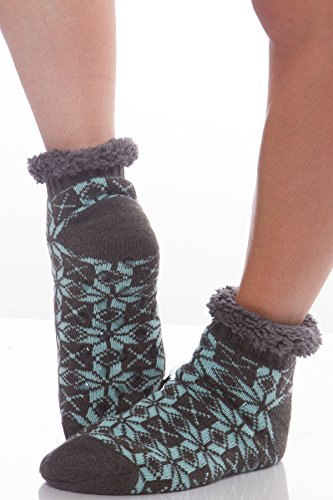 Womens Snowflake Faux Fur fuzzy socks with Grippers