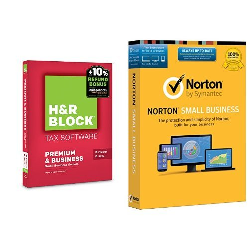 H&R Block 2015 Premium + Business Tax Software + Refund Bonus Offer - PC Disc with Norton Small Business - 10 Device (Norton And H&r Block)