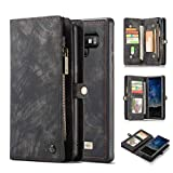 KONKY Caseme Samsung Galaxy Note 9 Wallet Case, Magnetic Detachable Removable Phone Cover Pouch Folio Durable Leather Purse Flip Card Pockets Holder Bag Smooth Zipper (Samsung Galaxy Note 9, Black)