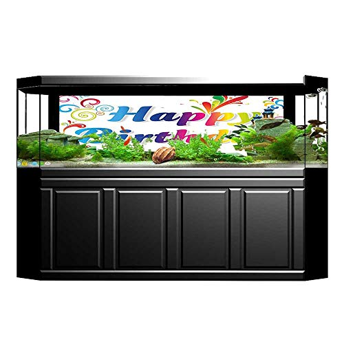 Jiahong Pan 3D Aquarium Background Embellishments on Artsy Birthday Message Fish Tank Wall Decorations Sticker L35.4 x H15.7