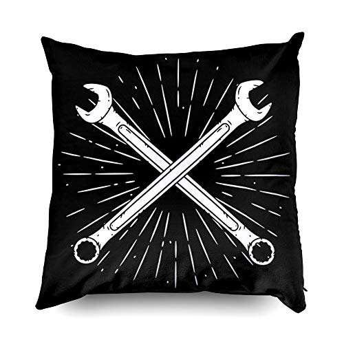 Sleepyhead Pillow Cover,Shorping Zippered Pillowcases 16x16 Inch Throw Pillow Covers Vector illustration with crossed wrench and divergent rays Used for poster banner web tshirt print b for Home Sofa