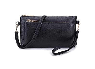 Multi Pocket Clutch Bag for Women with Long Adjustable Strap - Faux Leather  Small Zip Purse with Detachable Strap - Compact Crossbody Bag with Wristlet a26512f67120b