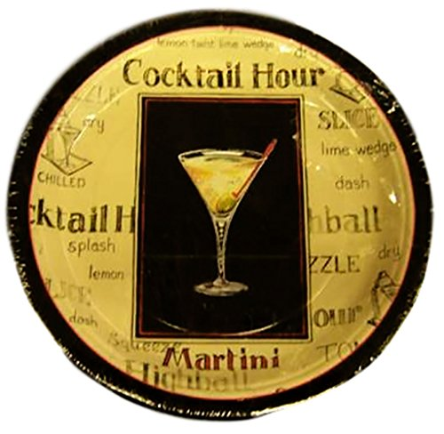 """Custom & Unique {9"""" Inch} 8 Count Multi-Pack Set of Medium Size Square Disposable Paper Plates w/ Cocktail Hour Martini Glass Dinner Party """"Black, Tan& Red Colored"""""""