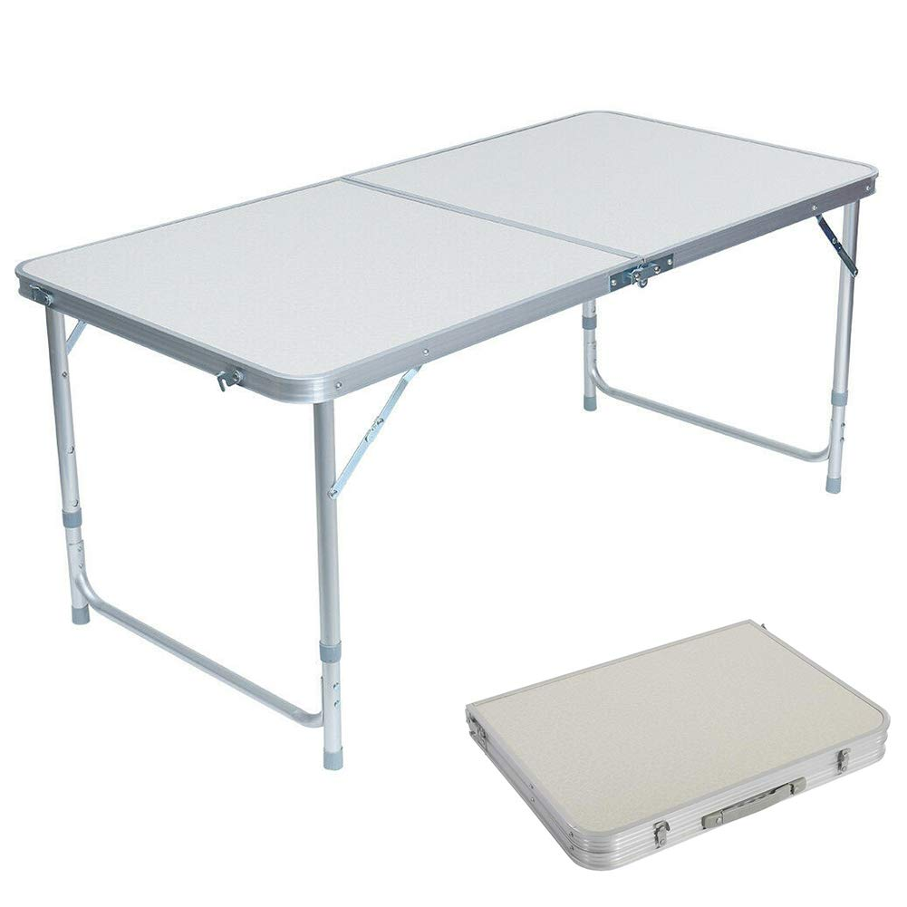 Lovinland Folding Table Portable Camping Table 3/4/ 6 Ft Aluminum Foldable Table for Picnic Party Dining (4 Ft) by Lovinland