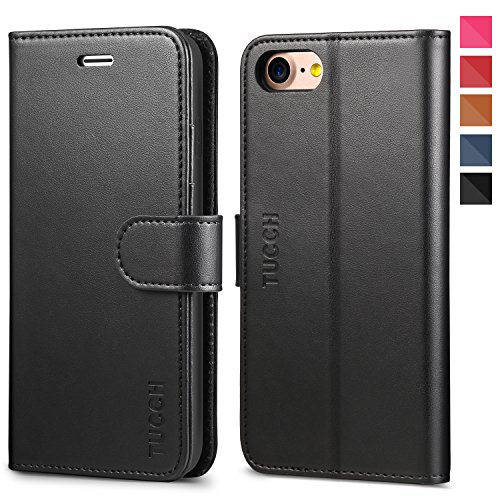 iPhone 8 Case, iPhone 7 Wallet Case, TUCCH Premium PU Leather Flip Folio Wallet Case with Card Slot, Stand Holder and Magnetic Closure [TPU Shockproof Interior Case] Compatible with iPhone 7/8, Black ()
