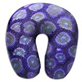 KIENGG Purple Rainbow Wood Coral Memory Foam U-Shaped Pillow,Novelty Travel Rest Pillow for Neck Pain,Breathable Soft Comfortable Adjustable