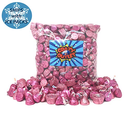 CrazyOutlet Pack - It's a Girl Baby Shower Pink Wrap Chocolate Candy Assortment - Hershey's Kisses, Kisses Caramel, Reese's Miniatures, Rolo Chewy Caramel, Bulk Pack, 3 ()