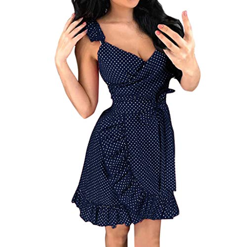 Aniywn Women Casual Summer Dot Printed Sleeveless Ruffles Beach Dress Sundress Sleeveless V-Neck Min Dress Navy