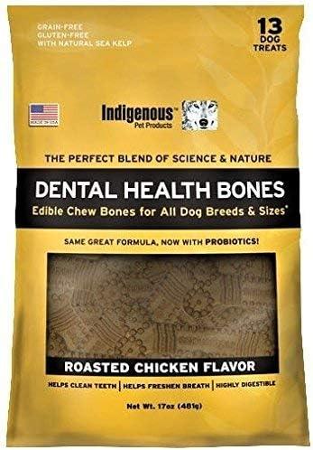 Indigenous – Dental Bone Chew Roasted Chicken Flavor, 17Oz