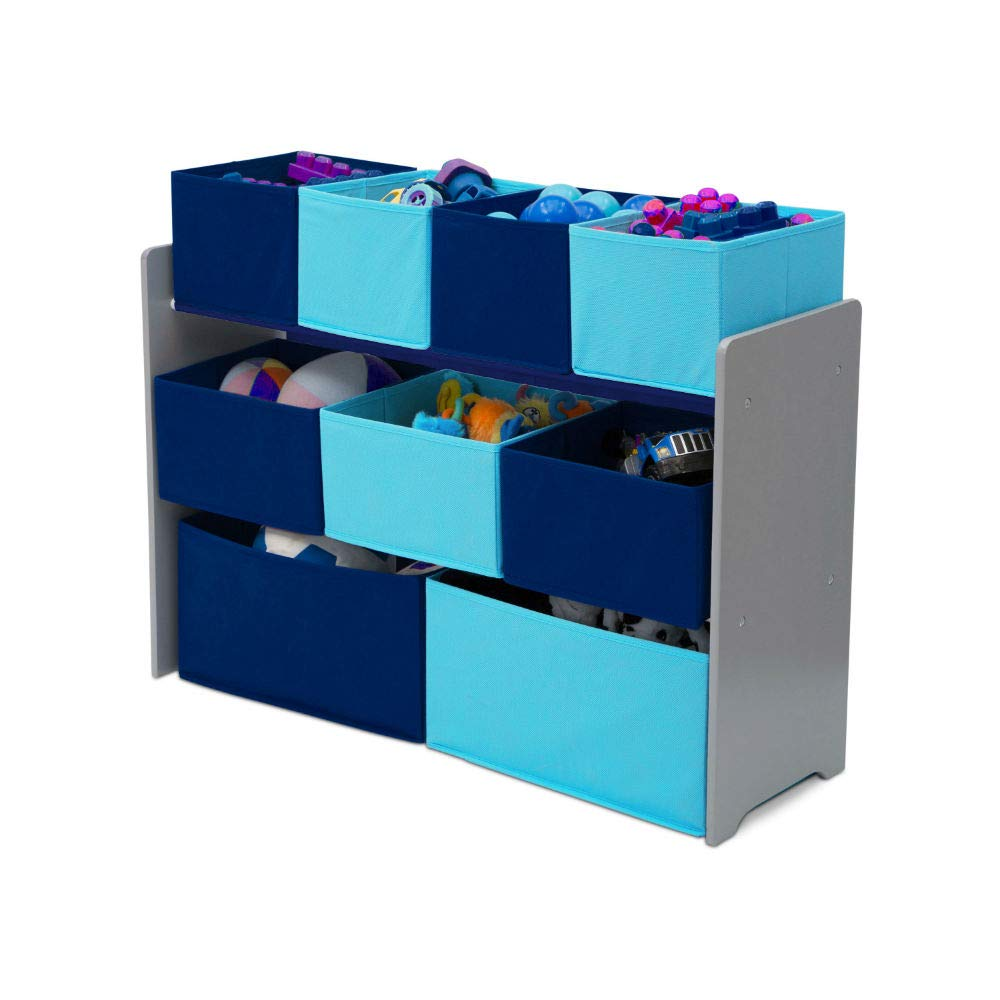Toy Cubby Storage 3 Tier Bookcase with Bins Grey Colourful Kids Toy Organizer Decorative Playful Kids Size Furniture & e-Book by jn.widetrade.