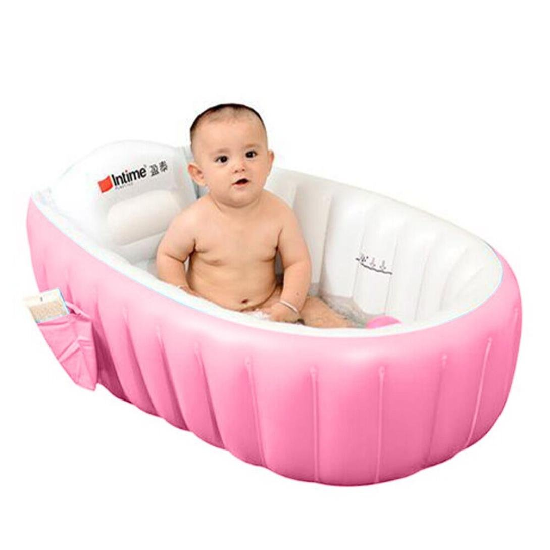 Inflatable Swimming Pool for Kids, Environmental Baby Inflatable Bath Tub Thickening Insulation Bath Barrel (Pink)