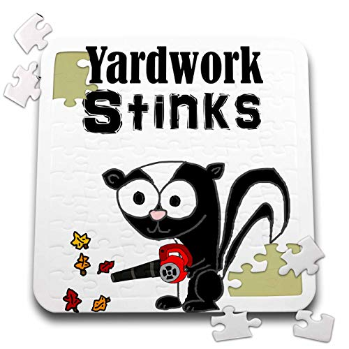 3dRose All Smiles Art - Funny - Cute Funny Yardwork Stinks Skunk Using Leaf Blower Cartoon - 10x10 Inch Puzzle (pzl_295235_2)