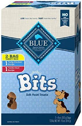 Blue Buffalo Blue Bits Natural Soft-Moist Training Dog Treats Variety Pack 2 Flavors ( 9 OZ Each Bag ) 18 OZ Total