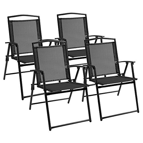 Devoko Patio Folding Deck Sling Back Chair Camping Garden Pool Beach Using Chairs Space Saving Set of 4 (Black)