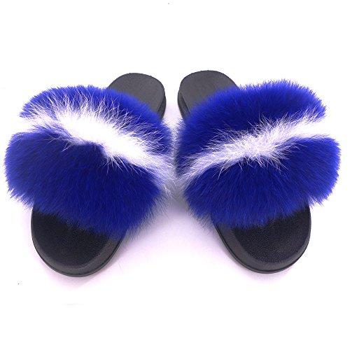 Manka Vesa Women Winter Real Fox Fur Feather Vegan Leather Open Toe Single Strap Slip On Sandals Royal Blue White