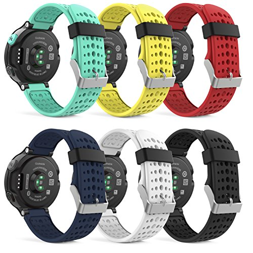 MoKo Garmin Forerunner 235 Watch Band, Soft Silicone Replacement Watch Band for Garmin Forerunner 235/220/230/620/630/735XT Smart Watch, 6PCS (Multi-Colors)