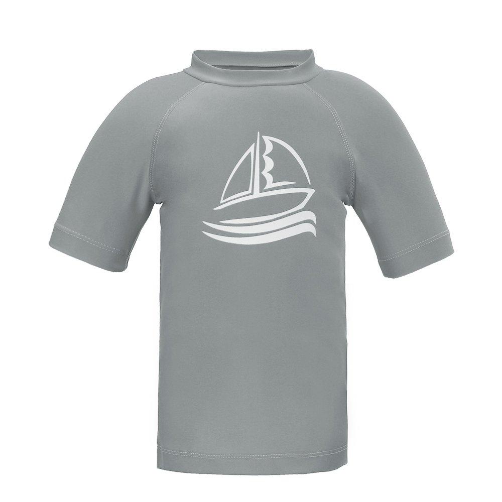 Boys' Short Sleeve Rash Guard Swimwear Athletic Tops Surf Swim Shirt UPF 50+ Sun Protection, Gray 8