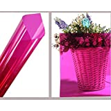 HOHO 35.4''x1181.1'' Colorful Transparent Window Decorative Tint Film Sun Block Stickers(Rose red)