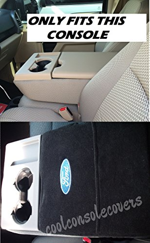 "2013 - 2016 Ford F150 F250 ""SEE PICTURE"" Regular, Super Cab, Super Crew, Xlt, Lariat Fits All Models Black TOWEL Custom Fit Officially Licensed Car Suv Center Console Cover with Ford Embroidered Logo"
