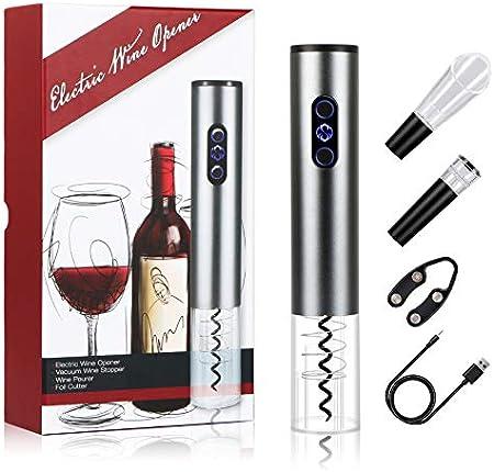 Abridores Eléctricos,Sucastle Sacacorchos Eléctrico,Abridor Botellas con USB,Profesional Abridor Botellas de Vino,Automatico Abrelatas de Vino Set Regalo,con Cortacápsulas, Vertedor y Tapón de Vino.