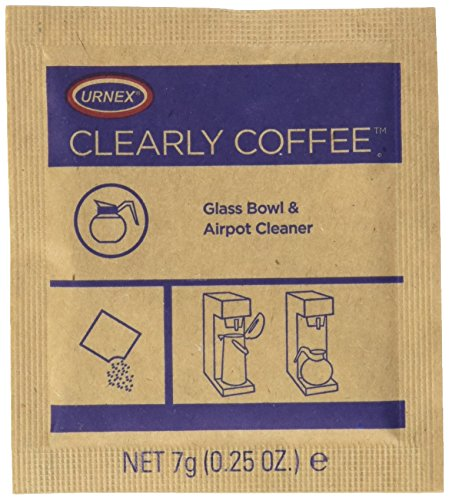 - Urnex Coffee Machine Cleaning Powder - 1/4 Ounce Packet [125 Packets] - Glass Bowl and Airpot Cleaner for Coffee Machines