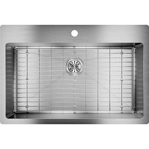 Elkay Crosstown ECTSRS33229TBG1 Single Bowl Dual Mount Stainless Steel Kitchen Sink Kit - Single Hole Cabinet Kit