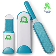 pets world Pet Hair Removal Brush Set by Complete Pet Hair Removal Kit | Includes Self-Cleaning Base, Full Size Pet Hair Removal Tool and Mini Pet Hair Remover Brush for Travel | Use in Cars, Home