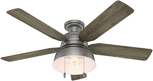 Hunter Indoor Outdoor Low Profile Ceiling Fan with light and pull chain control – Mill Valley 52 inch, Matte Silver, 59311