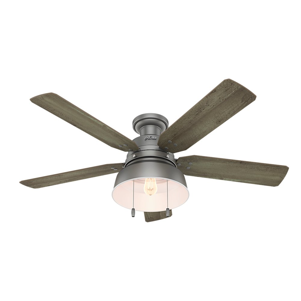 Hunter Fan Company 59311 Mill Valley 52'' Ceiling Fan with Light, Large, Matte Silver by Hunter Fan Company