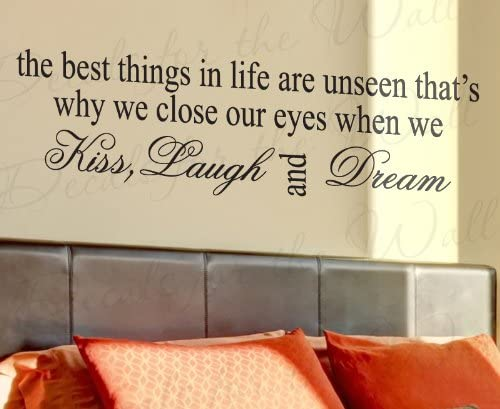 """/""""Kiss Laugh Dream/"""" Wall Quote  Sticker Removable Vinyl Decal Home Decor"""