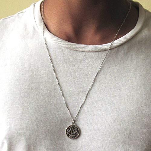 a73e98ffe4330 Amazon.com: Silver Plated Coin Necklace - Men's Silver Nautical ...