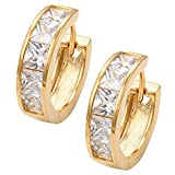 Fashion 18k Gold Plated Cute Sparkling Crystals Earrings Princess Cut Lucky Charms Gold-Tone Style Hoop in Elegant Black Gift Box
