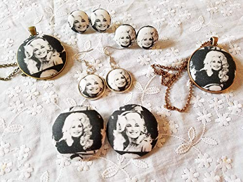Dolly Parton Earrings/Dolly Parton Necklace/Dolly Parton Jewelry/Fabric Earrings/Button Earrings/Dolly Parton Button/Country Music