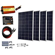 ECO-WORTHY 400 Watts Solar System: 4pcs 100W Poly Solar Panel+20A Temperature Compensation Controller+1Kw 24V-110V Pure Sine Wave Inverter+Cable Adaptor+ Z Brackets+Y MC4 Connectors