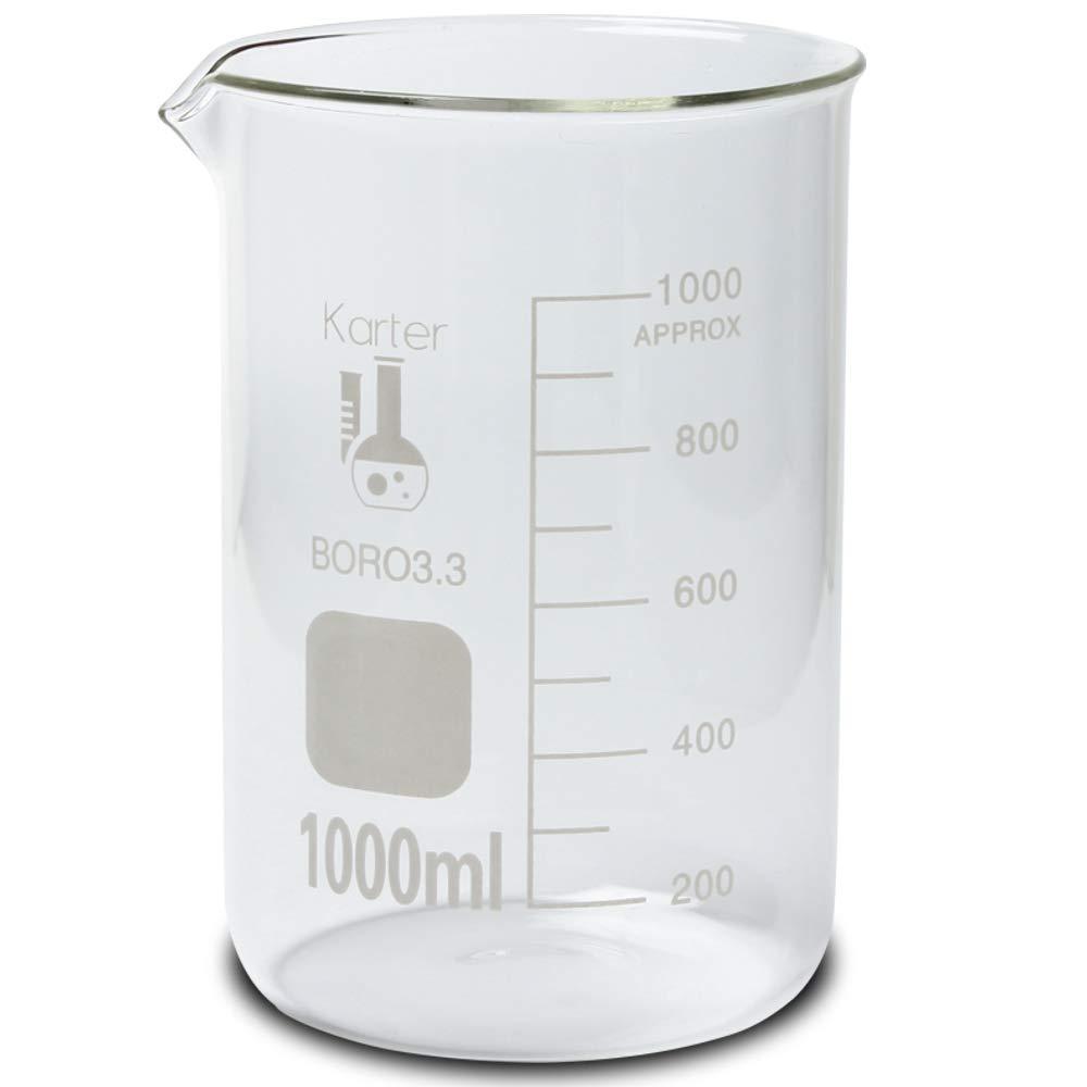 1000ml Beaker, Low Form Griffin, Borosilicate 3.3 Glass, Graduated, Karter Scientific 213D19 (Pack of 6)