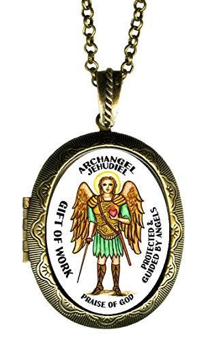 Archangel Jehudiel Gift of Work Praise of God Xl Solid Perfume Locket Pendant Gold Bronze (Glass Arch Keepsake)