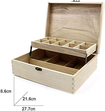 takestop® Caja cajonera 14 Compartimentos 28 x 21 x 8.5 cm Madera ...