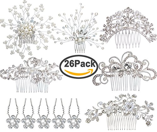 6pcs Bridal Wedding Hair Combs+20pcs Crystal Hair Pins Hair Clips for Women Bridal Wedding Headpiece for Bridesmaids