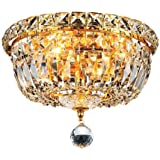 Elegant Lighting 2528F10G/RC Royal Cut Clear Crystal Tranquil 4-Light, Single-Tier Flush Mount Crystal Chandelier, Finished In Gold with Clear Crystals