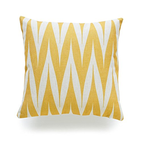 Hofdeco Decorative Throw Pillow Cover HEAVY WEIGHT Cotton Linen Mustard Yellow Geometric Tribal Zigzag Spike 18