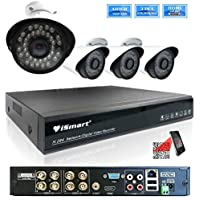 iSmart 8 Channel 960P AHD DVR HVR NVR 3-in-1 Security System including 4 960P Waterproof Bullet Surveillance Camera Night Vision Up to 100ft P2P