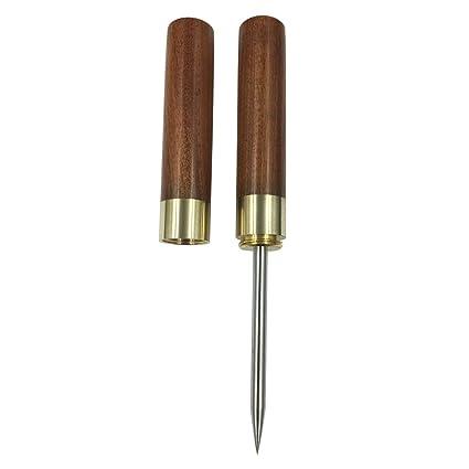 Hielo Palillos de Madera Mango de Acero Inoxidable para Cuchillo con Madera de sándalo (Rojo)