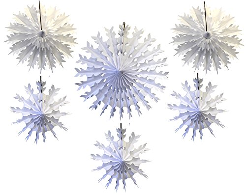 Devra Party 6-Piece Tissue Paper Snowflakes, White, 15-22 Inch]()