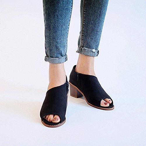 Zapatos Tacón Cremallera 4cm Grueso Con Jamron Diario Lateral Bloque Mujer Zapatillas De Negro Casual Peep Toe 1gREnHq