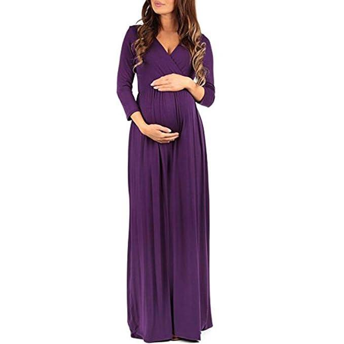 BBsmile Ropa Embarazadas Mujeres envueltas fruncidas Maternidad Embarazada Color sólido 3/4 Manga Vestido Largo
