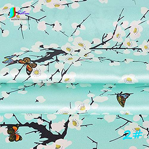 Dalab Cheongsam Dress Fabric About 120cm Wide Inkjet Stretch Satin Plum Blossom Butterfly Flying Dark Green Aqua Blue 1meter/lot S096M - (Color: No2)
