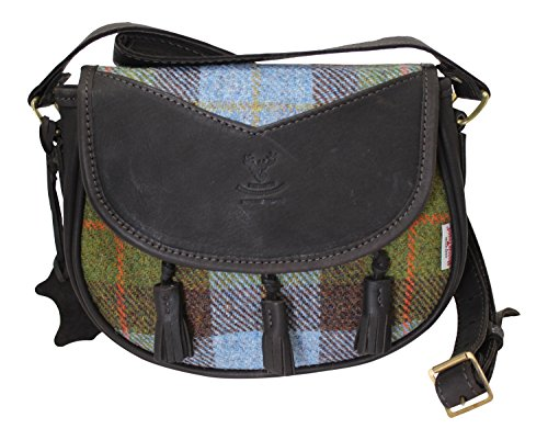 Wild Scottish Deerskin Designer Leather Authentic MacLeod Harris Tweed Sporran Cartridge Bag